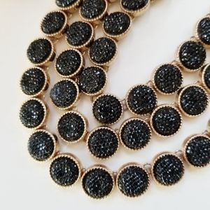 Aldo Sparkly Layeted Black Druzy & Gold Necklace